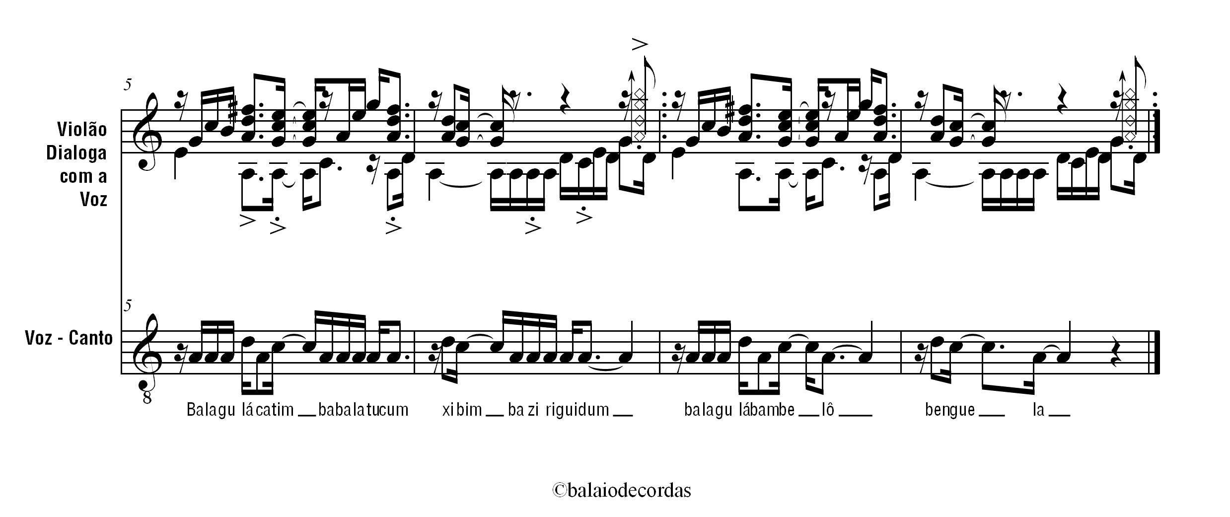 Partitura para voz e violão